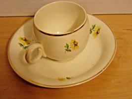 Vintage Homer Laughlin Miniature Cup & Saucer With Yellow Flowers - $3.99