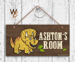 Yellow Dinosaur Sign, Personalized Sign, Kid's Name, Kids Door Sign, 5x1... - $16.29