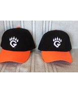 Lot 2 GRIZZLY Fresno G Paw Logo Orange Black Base Ball Trucker Cap Hat Adj - $19.99