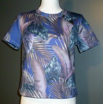 Forever 21 Floral Top Size Small Blue Teal Brown Tropical Womens Made in... - $21.49