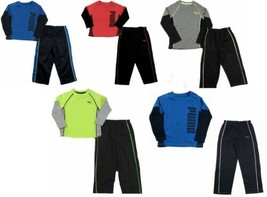 PUMA Little Boy's Pant Set 2-Piece Long Sleeve Tee T-Shirt Shirt & Track Pants