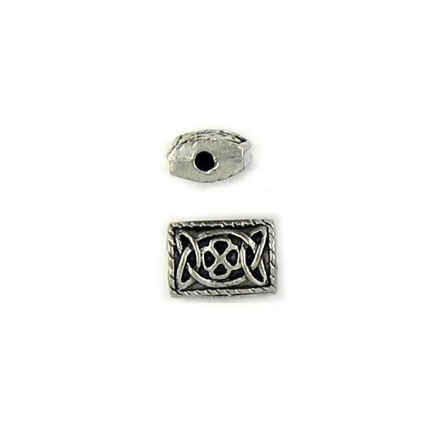 CELTIC RECTANGULAR FINE PEWTER BEAD - 12.5x9x5mm; Hole 2mm