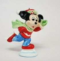 Vintage Mickey Mouse Japan Christmas Ornament Ice skating Glazed ceramic - $5.99