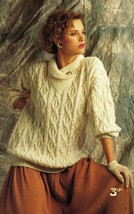 Vintage Misses Men Forever Aran Fisherman Knit Sweater Skirt Knit Patter... - $13.99