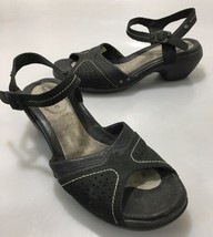 """Merrell Womens 8 Luxe Strap Black Leather Ankle Strap 2"""" Heels Sandals - $37.73"""