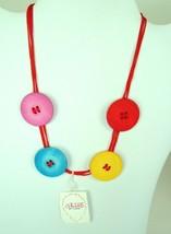 Carole Inc. Colorful Vintage 90s plastic Button Necklace Retro Mod NOS C... - $7.92