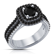 Womens Black Diamond Halo Engagement Ring 14k White Gold Finish 925 Solid Silver - $68.99