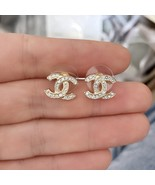 Authentic Chanel Classic CC Logo Crystal Strass GOLD Stud Earrings  - $399.99