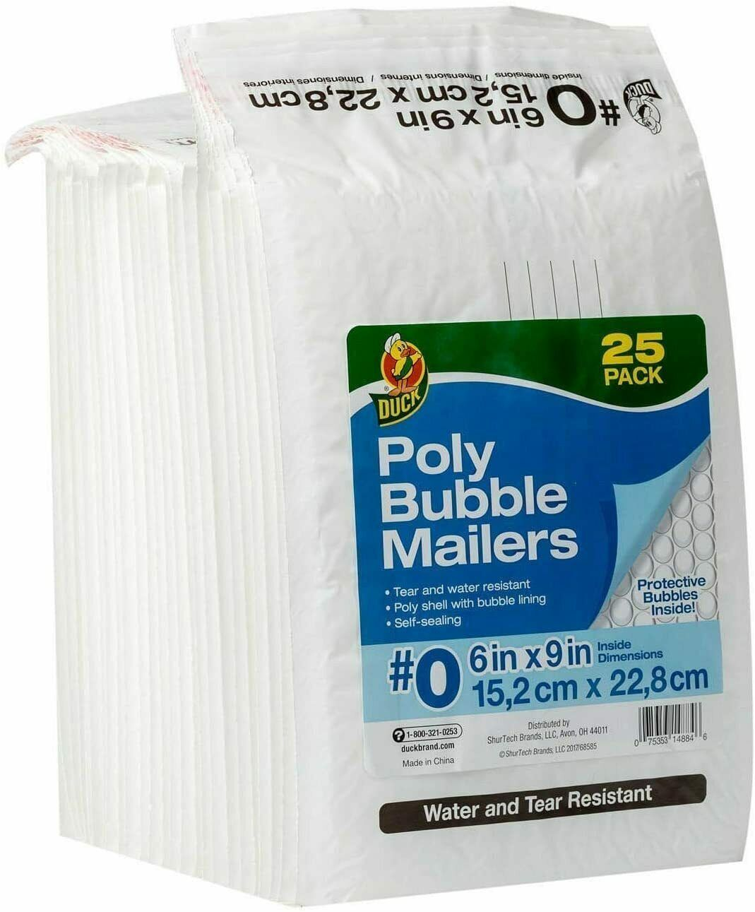 Duck #0 Poly Bubble Mailer 6in x 9in White Self-sealing 25 Pack (#0)