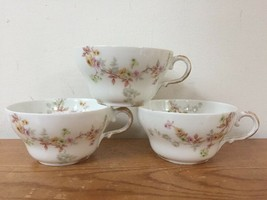 Set 3 Vintage Theo Haviland Limoges France Rose Floral Porcelaine Tea Cups - $39.99