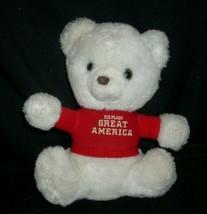 "9"" VINTAGE WHITE TEDDY BEAR SIX FLAGS GREAT AMERICA STUFFED ANIMAL PLUSH... - $23.03"