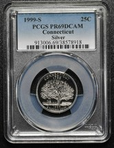 1999S 25¢ Connecticut SILVER State Quarter Proof PCGS PR69DCAM Coin SKU C94