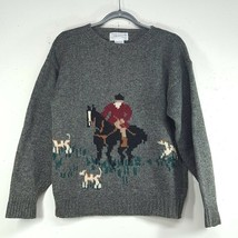 Deans of Scotland Shetland Wool Sweater Men's Small Fox Huntsman Motif V... - $69.99