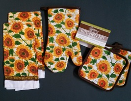 Sunflowers Kitchen Set 4pc Towel Oven Mitt Potholders Sunflower Yellow Brown New - $12.99