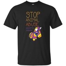 Funny Quote Stop Animal Abuse Adopt a Pinata Black Grey Gift Tshirt - $18.99+