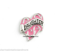 Daughter Heart Love Pink & Silver Floating Charm For Glass Memory Lockets - $1.97