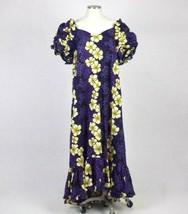 Hilo Hattie Purple Hawaiian Maxi Shift Dress Floral Summer Party Gown Size XL - $84.14