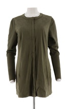 H Halston Faux Suede Jacket Sweater Knit FrontZip Slvs Moss Green 10 NEW... - $52.81