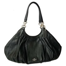 NWT COACH Luxury Lily Shoulder Bag Purse Natural Leather Black Gold F121... - $177.21