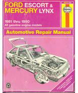 Haynes Repair Manual 36016 Ford Escort Mercury Lynx 1981 - 1990 Gas Models - $12.00