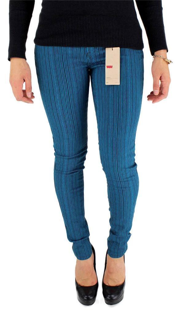 New Levi's 535 Junior's Classic Skinny Jeans Leggings Blue Stripes 119970100