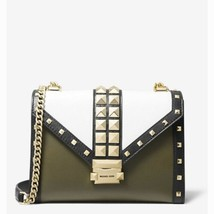 Michael Kors Whitney Studded Tri-Color Convertible Shoulder Bag Olive Combo - $345.18 CAD