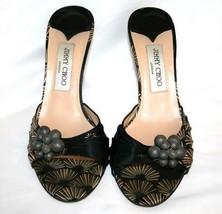 JIMMY CHOO Black Multi-Colored Print Heels Sandals Shoes 38  7.5 - $249.00