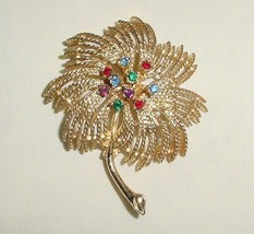 Vintage Sarah Coventry Faux Gemstone Gold Tone Palm Tree Pin - $22.95