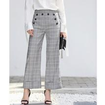 Women's Brand Fashion Plaid Double Breasted Blazer with Belt Pants Suit image 6