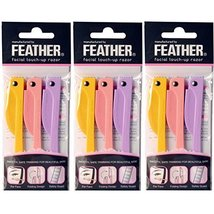 Feather Flamingo Facial Touch-up Razor  3 Razors X 3 Pack image 2