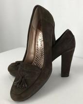 Sam Edelman Women's Size 9.5 M Brown Suede Print Heels Round Toe Shoes Tassels - $39.59