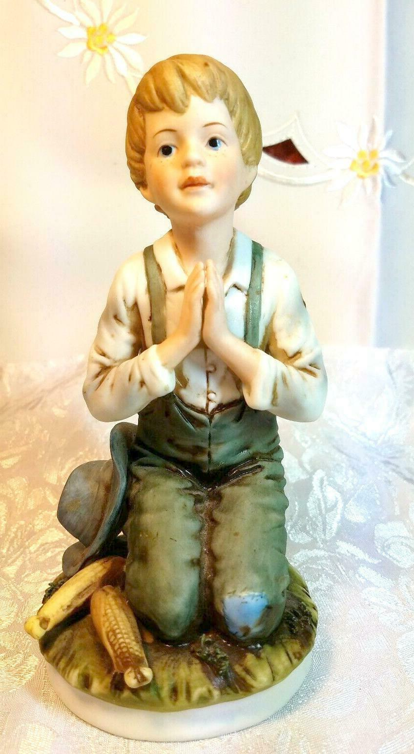 RR Roman Ceramic Figure, Farm Boy Kneeling in Prayer circa 1979