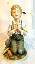 RR Roman Ceramic Figure, Farm Boy Kneeling in Prayer circa 1979 image 1