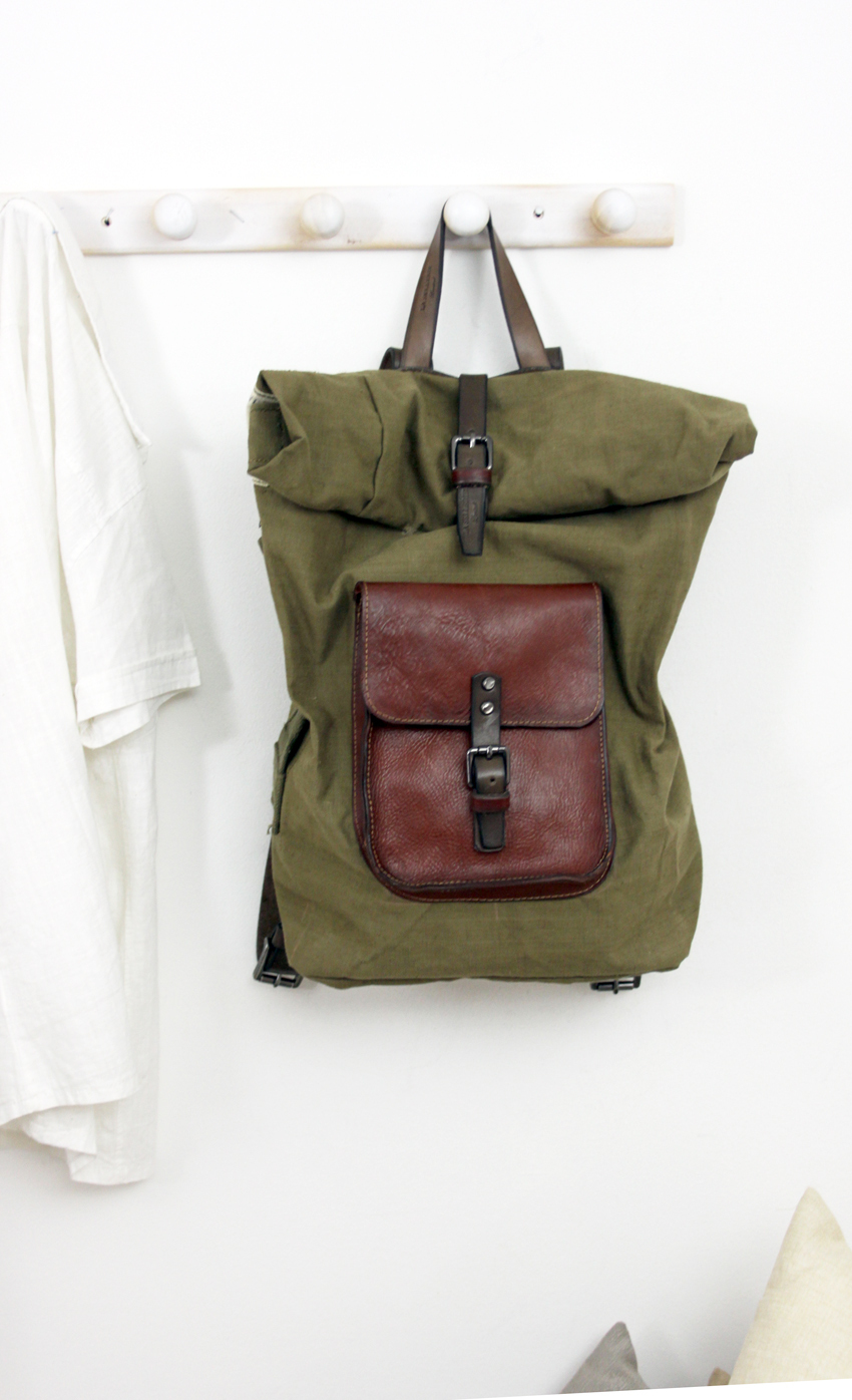 ROLL BACKPACK handmade leather & canvas backpack