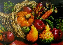 "Cornucopia Latch Hook Kit Fall Harvest Rug Wall Hanging 20"" x 30"" Caron Classics - $38.95"