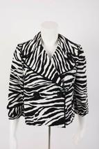 International Concepts Women's Cropped Blazer Jacket S Zebra Print Black... - $29.69
