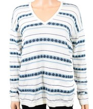 Tommy Hilfiger Women V-Neck Striped Pullover Knit Sweater Small S Ivory ... - $18.57 CAD