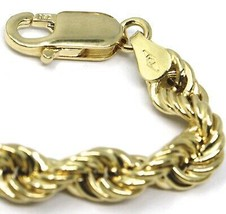 18K YELLOW GOLD BRACELET BIG 6 MM BRAID ROPE LINK 7.9 INCHES LONG MADE IN ITALY image 2