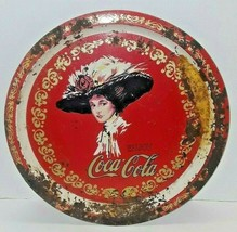 Vintage Coca Cola Tin Serving Tray Round Woman Fancy Hat Red White and Gold 1982 - $12.87