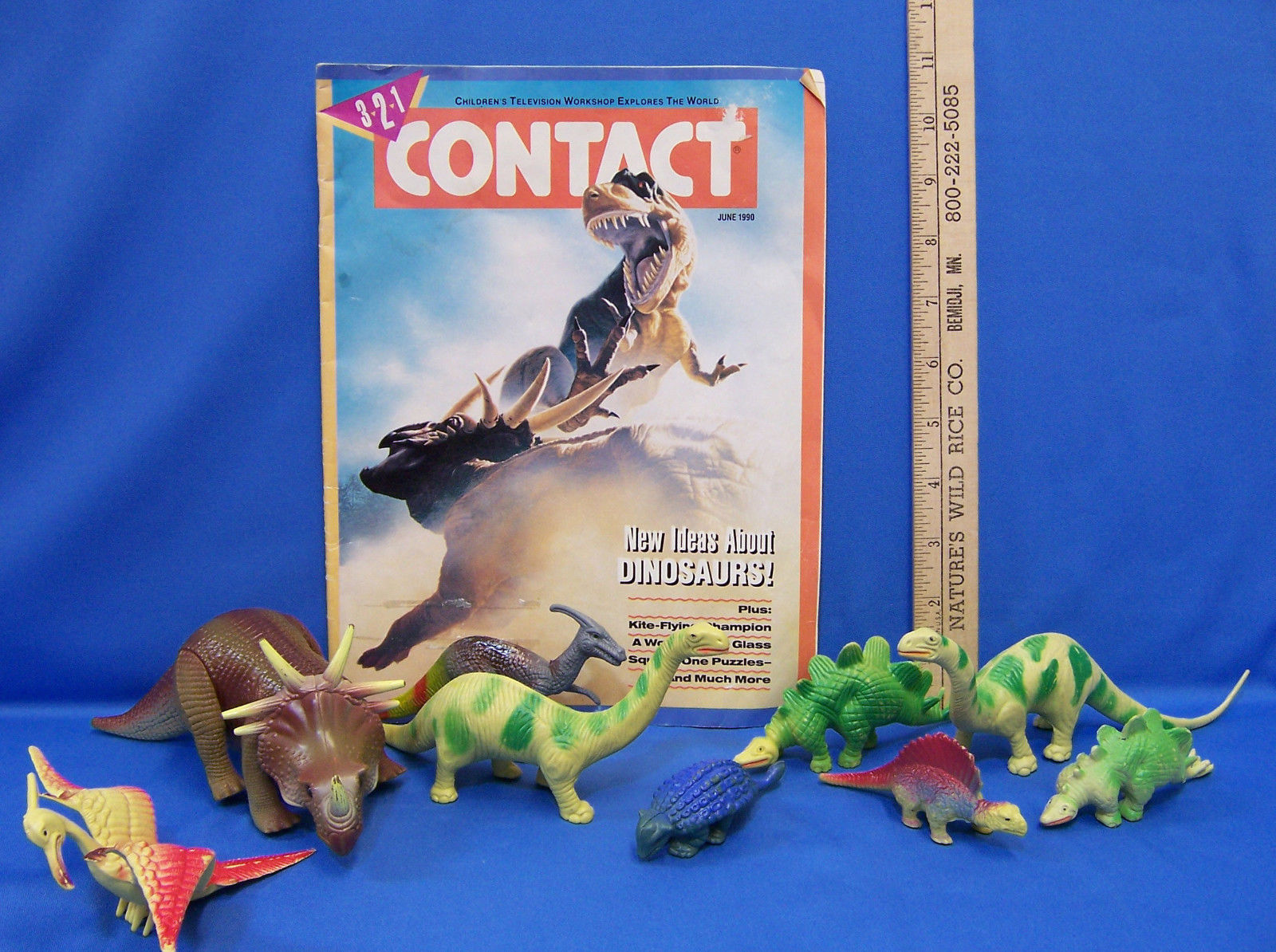 Vintage Assorted Hard Plastic & Tyco Moveable Dinosaurs Contact 1990 Magazine - $18.80