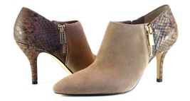 Michael Kors Clara Mid Bootie DK Dune Brown Suede Croc Leather Heel NIB ... - $79.99