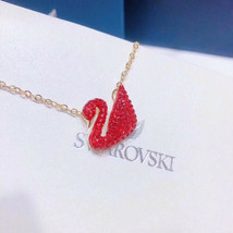 Swarovski red swan 18K gold plated Necklace pendant jewelry gift - $33.51