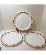 "3 Dinner Plates Cinnamon Chestnut Corelle Rust Tan Bands 10.25"" - $29.02"