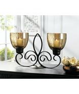 Freestanding Dual Fleur De Lis Metal Candle Holder - $26.99