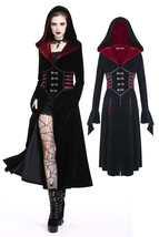 Black Velvet Red Trim Hooded Goth Jacket Long Victorian Gothic Coat Spri... - $79.71