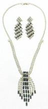 Vintage Crystal Rhinestone Black Baguette Fringe Necklace Dangle Earring... - $53.99