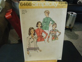 Simplicity 6466 Misses Tunic Tops Pattern - Size 14 Bust 36 - $6.72