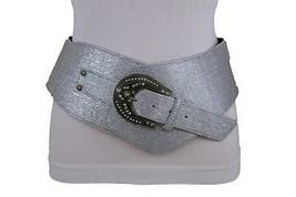 New Plus Size Women Wide Western Metallic Silver Fashion Belt Bling Style XL XXL - $19.59