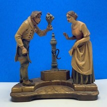 Wood carved folk art Italy man flower fountain statue figurine mcm sculp... - $272.25
