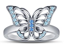 925 Silver 14k White GP Women's Princess Snowflake Butterfly Wedding Ring - $61.18